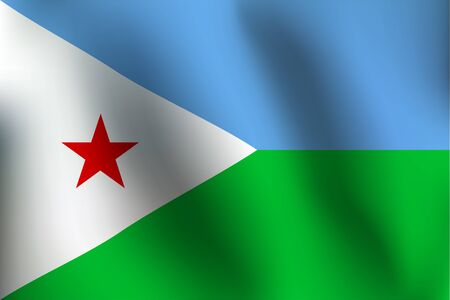 djibouti: Flag of Djibouti with a little Waving, Shading & Flag Colors separated layers - Vector Illustration