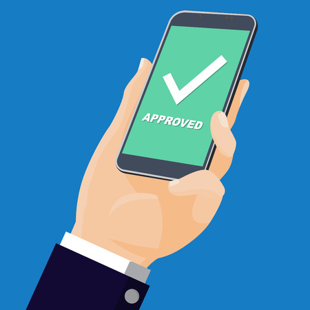 Mobile phone with approve icon. Vector Illustration