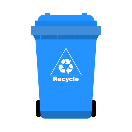 Blue Trash with Recycle bin icon, isolated on white background, flat design style.