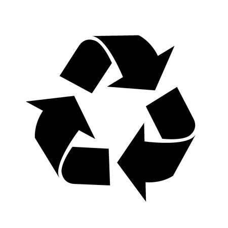 Recycle icon, iconic symbol on white background.  Vector Iconic Design. Ilustração