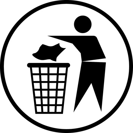 Throw out the trash icon in circle line, iconic symbol on white background. Ilustração