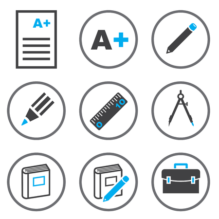 Set vector of Education line icons in circle line, flat design education, document, pencil, A+ point, ruler, book and bag. Collection modern infographic logo and pictogram.