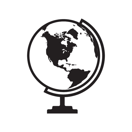 Globe icon vector with America map. Flat icon isolated on the white background. Vector illustration.