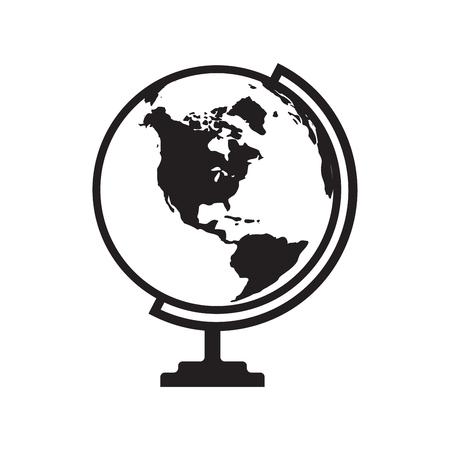 Vector de icono de globo con mapa de América. Icono de plano aislado en el fondo blanco. Ilustración vectorial