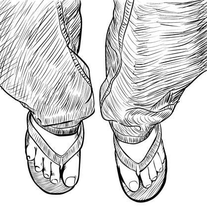 Hand drawn sketch of male feet on slipper, summer concept-Vector Illustration