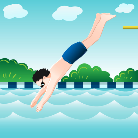 jumping into water: A boy jumping into water in swimming pool. vector illustration. Illustration