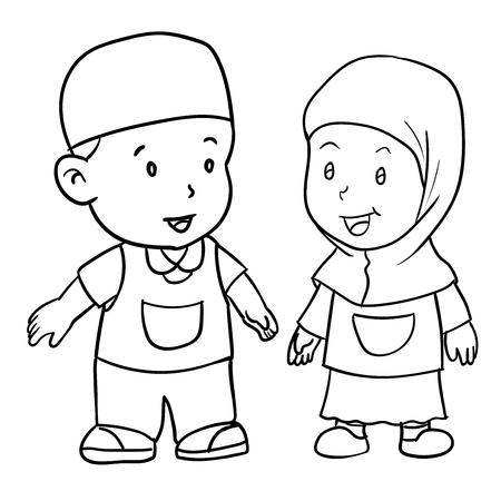 白い背景で隔離しているイスラム教徒の子供たちの図面を渡します。立っている男の子と女の子の学生、黒と白のシンプルなベクター イラスト塗り  イラスト・ベクター素材
