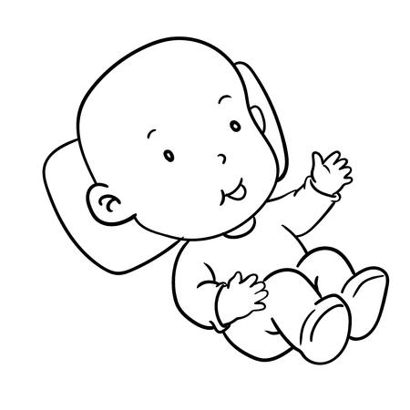 手描きの幸せな笑顔の赤ちゃんを横になっています。手描き漫画のベクトル図です。