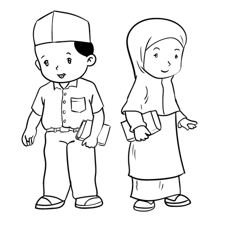 Hand drawing of muslim kids standing isolated on white background.