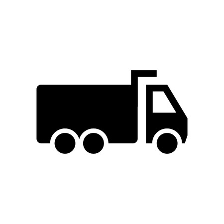 Dump truck icon, iconic symbol, on white Iconic Design.