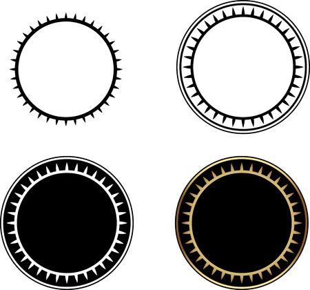 round: Set of Circle frames, round frame, gold circle frame-vector illustration