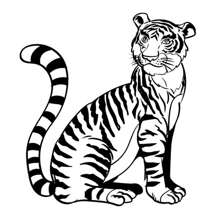 Lijn tekening cartoon een zittende tijger in zwart-witte kleur - Vector illustratie Stock Illustratie