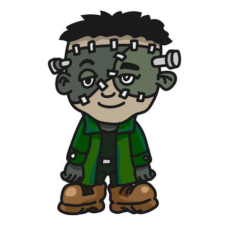 Cute Halloween Frankenstein, Cartoon Creature Monster icon. Vector Character Design