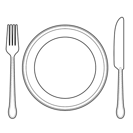 Empty plate with knife and fork Stock Illustratie