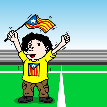 Cartoon of a Funny man holding Catalonia flag Illustration