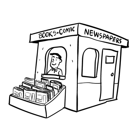 イスラーム書籍通販の漫画、白い背景で隔離の本ショップの男。手には、ベクター グラフィックが描画されます。