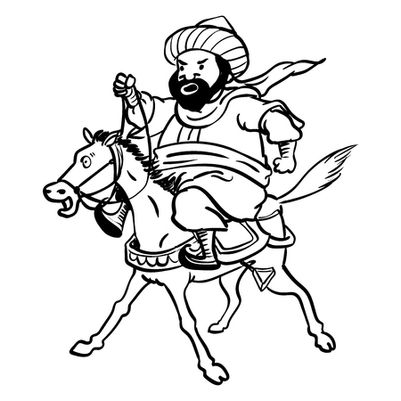 Cartoon Fat Arab man riding a tired horse for coloring-Hand drawn Vector illustration