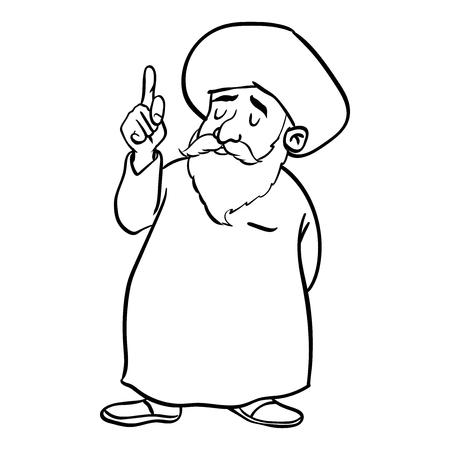Passi il disegno della condizione musulmana dell'uomo anziano del fumetto, dito del puntatore su, isolato su fondo bianco. Illustrazione di vettore di linea semplice bianco e nero per libro da colorare - linea disegnata vettoriale