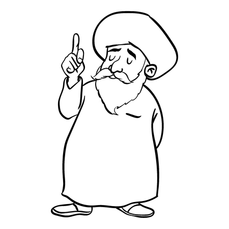 Hand drawing of Cartoon Muslim Old man standing, pointer finger up, isolated on white background. Black and White simple line Vector Illustration for Coloring Book - Line Drawn Vector Illustration