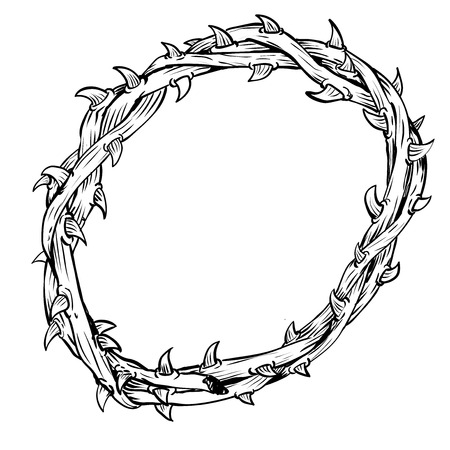 Hand drawing of Thorn Crown, isolated on white background. Black and White simple line Vector Illustration for Coloring Book - Line Drawn Vector Stock Vector - 87627057