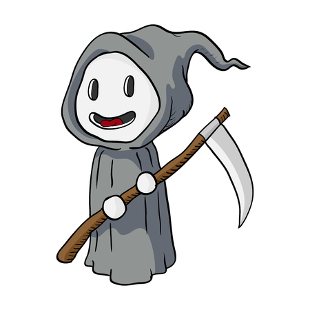 Cartoon Halloween Death Monster, Grim Reaper-Vector Illustration