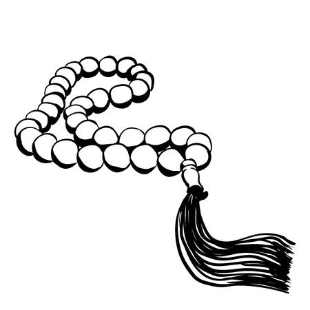 手描き漫画のスタイルの白い背景で隔離のイスラムの祈りビーズ。宗教シンボル株式ベクトル イラスト。