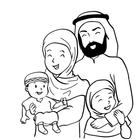 Hand drawn of Happy Muslim family. Father, mother, son and daughter together. Vector illustration Cartoon design
