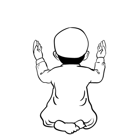 Hand drawn Muslim Boy have a pray time with hands up in the air dua pose with back view. Vector Cartoon Illustration.