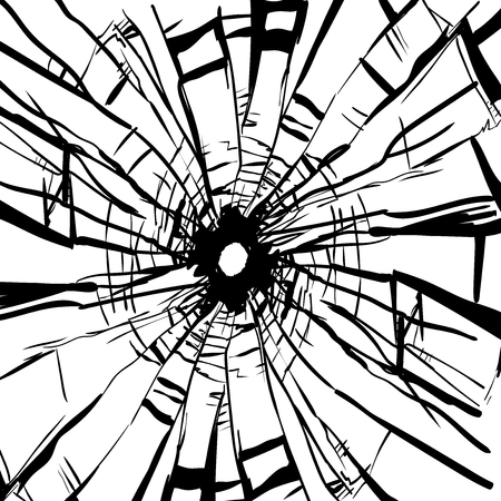 Broken Glass and hole in isolated on white background Vector Illustration Illustration