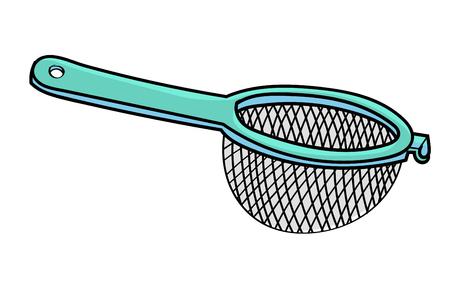Hand gezeichnet vom Sieb lokalisiert auf weißem Hintergrund, bunte Karikatur-Vektor-Illustration. Vektorgrafik