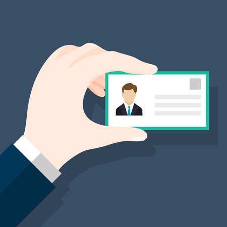 Businessmen holding ID or identification card in flat style. Mans hand holding or showing ID badge or driving license. Presenting business cards.