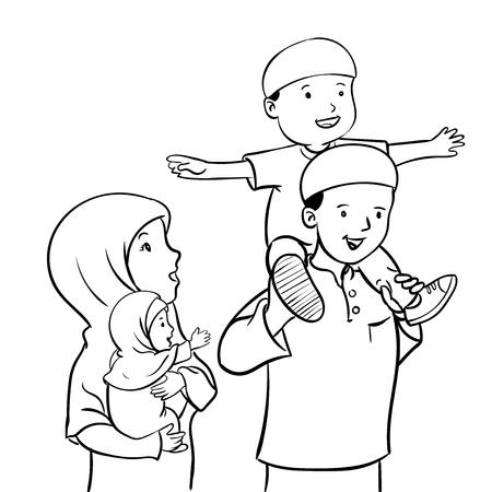 Parents et maman heureux parents debout avec fille et garçon enfants. fils assis sur l'épaule du père. Famille aimante. Illustration de vecteur moderne style plat. Banque d'images - 87898056