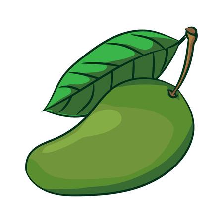 Illustration of Mango with leaf isolate on white background-Vector Illustration