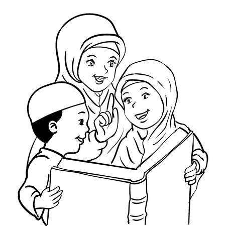 息子と娘と一緒に漫画イスラム教徒の母親が本を読んで、子供が読む本、幸せなムスリムの家族 - ベクトル図