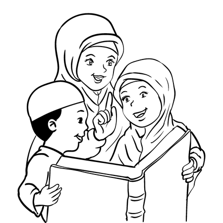 Cartoon Muslim Mother with son and daughter read book, Kids read book, For Happy Muslim family -Vector Illustration