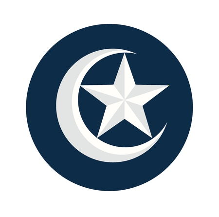 Islamic Flat Icon, Crescent star icon isolated on white background, for Religion Flat Icons Symbols concept-Vector Flat Design Illustration