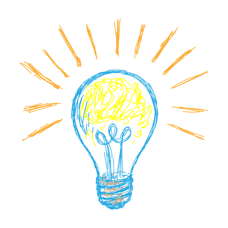 Hand drawn Light lamp, Doodle line style - Vector Hand Drawing Illustration