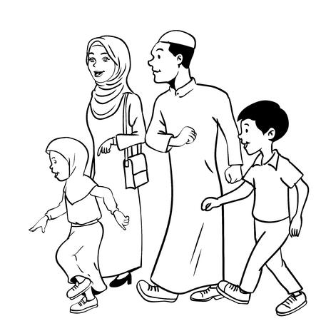 Colorear Familia Musulmana Feliz - Ilustración Vectorial ...