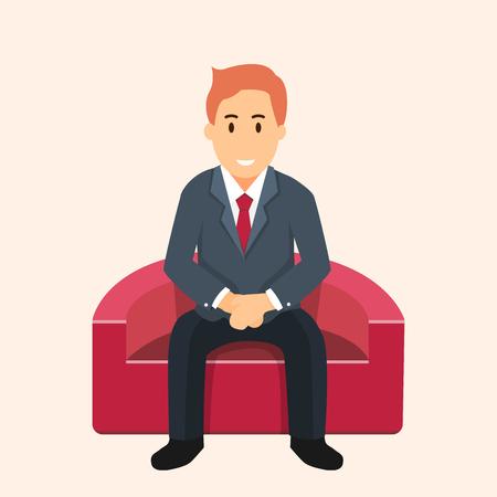 赤いソファの上に座って、待っている実業家のビジネス イラストです。仕事検索の難しさの概念。ベクトル フラット グラフィック デザインします