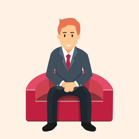 Business illustration of businessman sitting on red sofa and waiting. Concept of job search difficulties. Vector Flat graphic design Ilustração