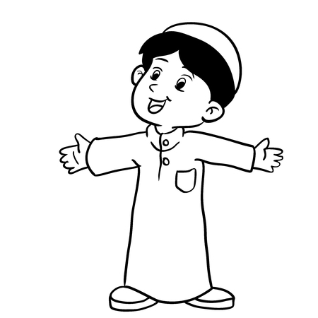 Illustration of Happy Muslim Boy standing, Hand drawing style for coloring book-Vector Illustration