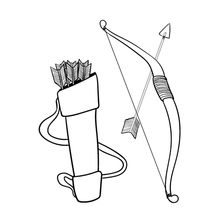 Hand drawn Arrows bow and case, isolated on white background. Black and White simple line Vector Illustration for Coloring Book. Illustration