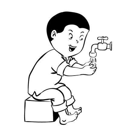 イスラム教で祈る前に、ウドゥのための手を洗う男の子、掃除体。白い背景に孤立した漫画。