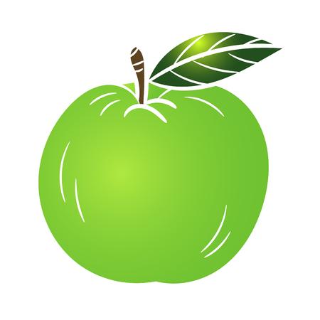 black and white: Illustration Green Apple isolated on white background - Vector Illustration.