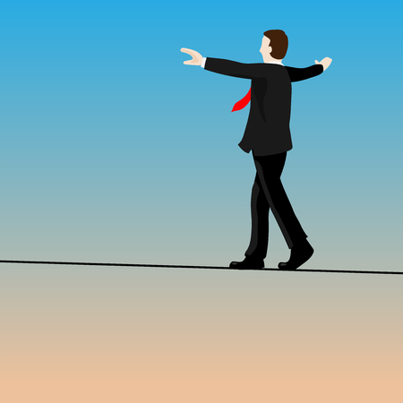 Isolated businessmen walking tightrope on blue sky background-Vector Illustration.