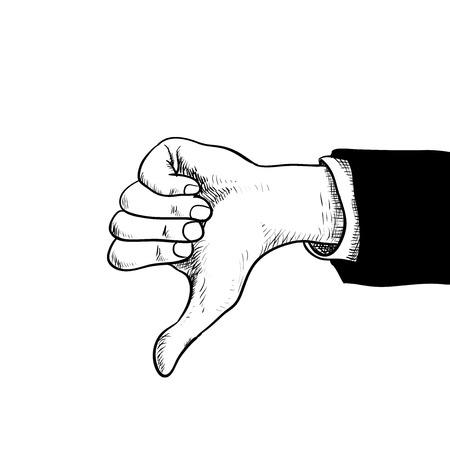 Zakenman hand duimen naar beneden, Hand in pak tonen duimen naar beneden, geïsoleerd op een witte achtergrond met gravure stijl-Hand getrokken vectorillustratie. Stock Illustratie