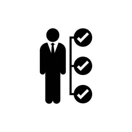 Geschäftsmannaufgabeneinzelteile listen die Ikone auf und überprüfen Markierung checklist Markierung lokalisiert-Vektor ikonenhaftes Design. Vektorgrafik