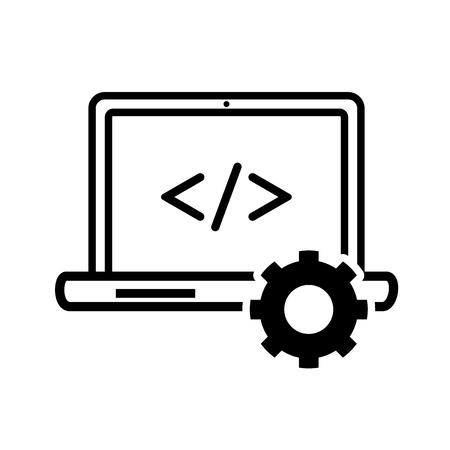 Computer programmeringspictogram, iconisch symbool op witte achtergrond, voor het concept van het Technologieteken. Vector iconisch ontwerp. Stock Illustratie