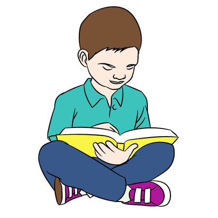 Hand drawing a boy reading, young boy reading a book sitting on the floor. Vector illustration.
