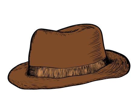 Hand drawing of cowboy hat. Vintage brown hat, vector hand drawn illustration.